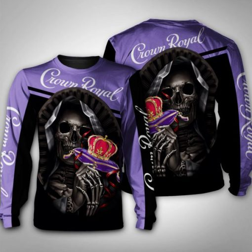 Death skull crown royal full printing sweatshirt