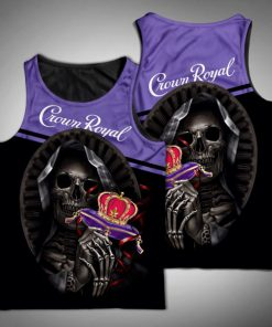 Death skull crown royal full printing tank top