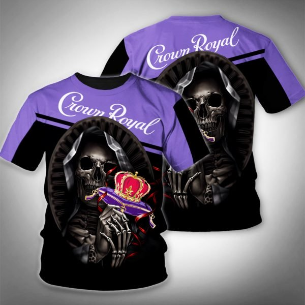 Death skull crown royal full printing tshirt