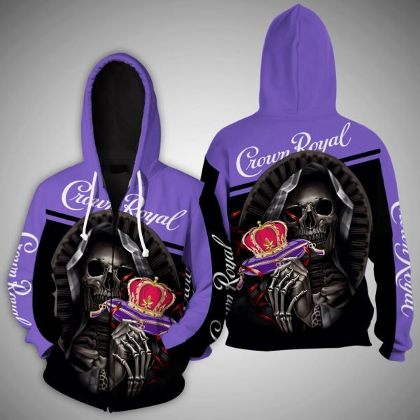 Death skull crown royal full printing zip hoodie