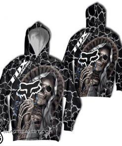 Death skull fox racing fox head logo full printing shirt
