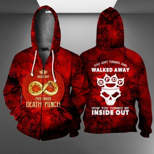 Five finger death punch inside out full printing zip hoodie