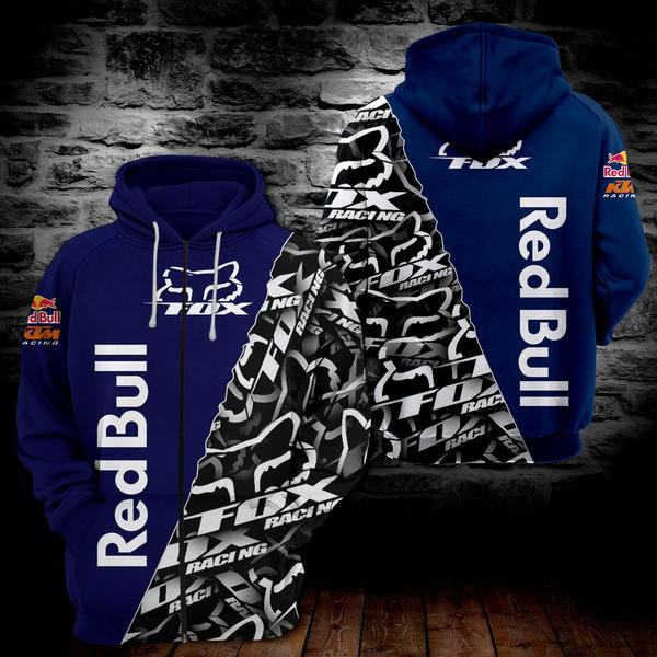 Fox racing red bull full printing zip hoodie