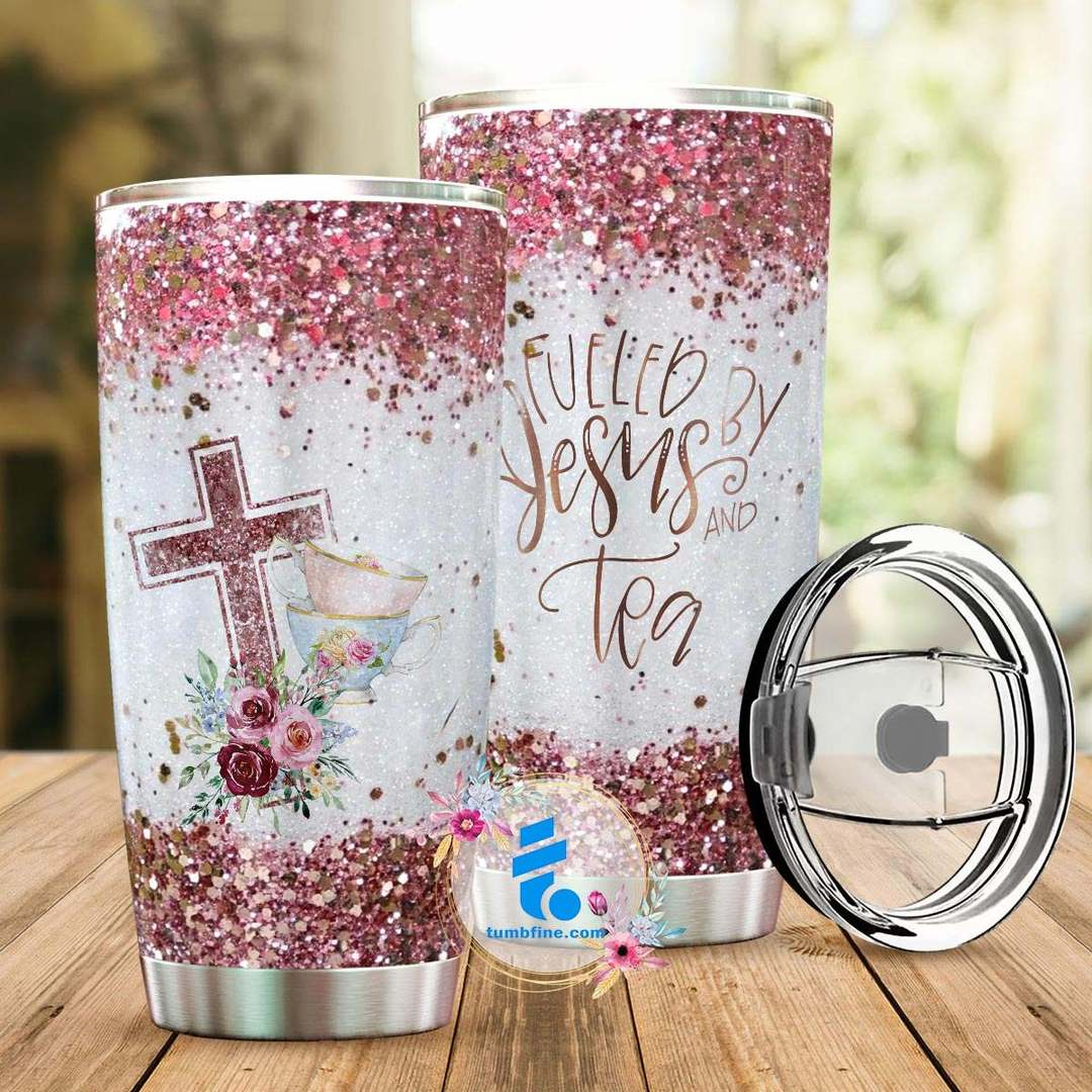 Fueled by jesus and tea full over printed tumbler 3