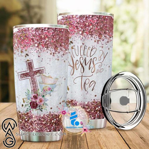 Fueled by jesus and tea full over printed tumbler