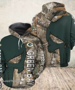 Green bay packers camo skull all over print shirt