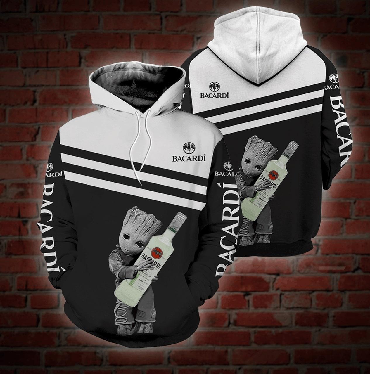 Groot bacardi rum full printing hoodie