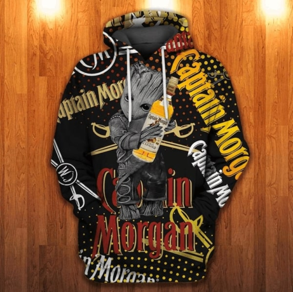 Groot captain morgan all over printed hoodie