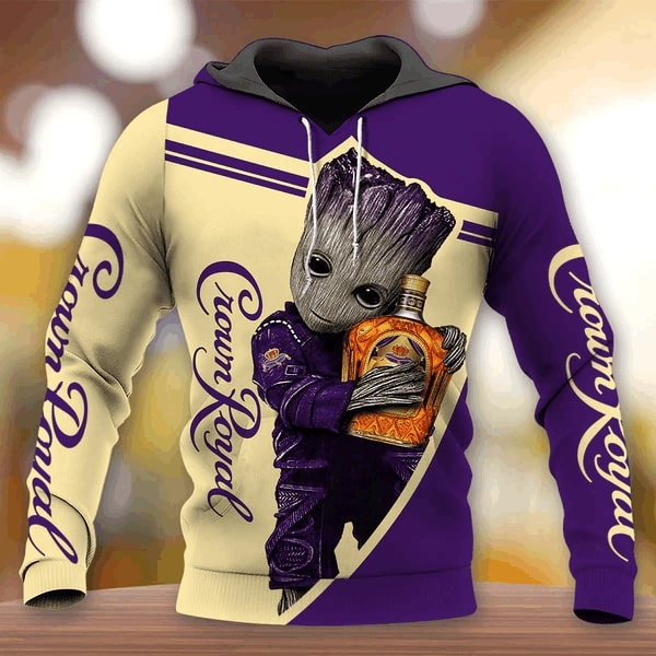 Groot crown royal 3d full printing hoodie