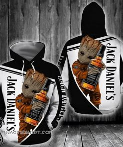 Groot hold jack daniel's whiskey all over print shirt