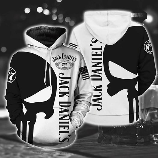 Jack daniel's old no 7 tennessee whiskey skull all over print hoodie