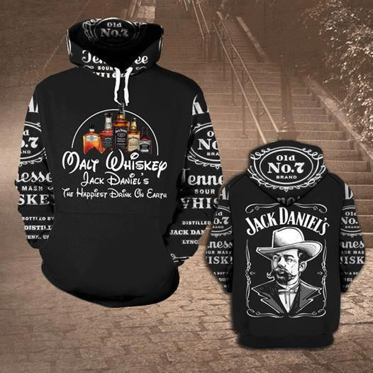 Jack daniel's tennessee whiskey all over print hoodie