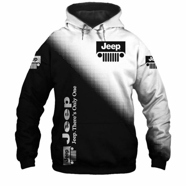 Jeep logo there's only one all over printed hoodie 2