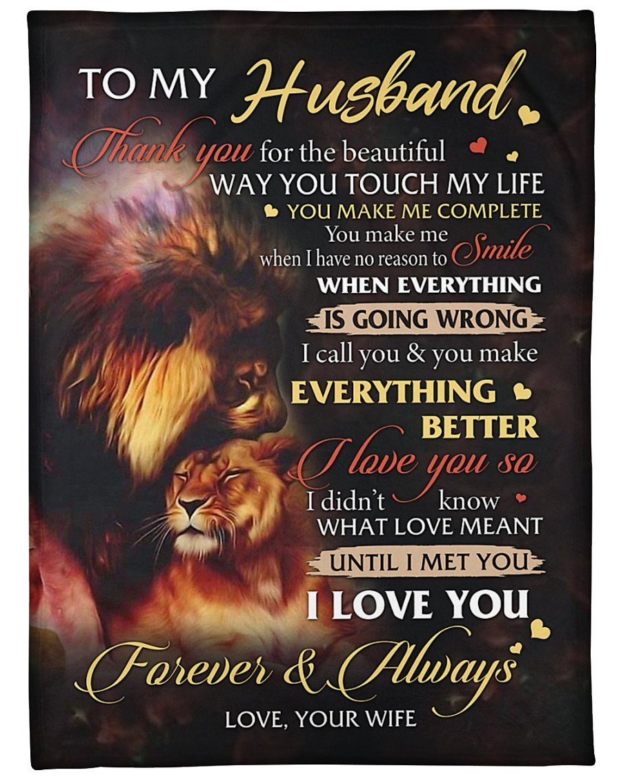Lion to my husband i love you forever and always full over printed blanket 1