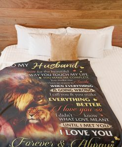 Lion to my husband i love you forever and always full over printed blanket 2