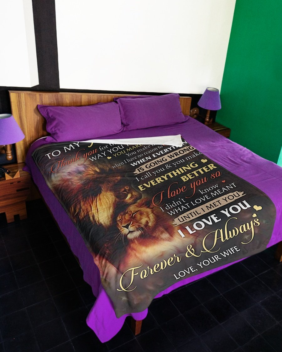 Lion to my husband i love you forever and always full over printed blanket 3