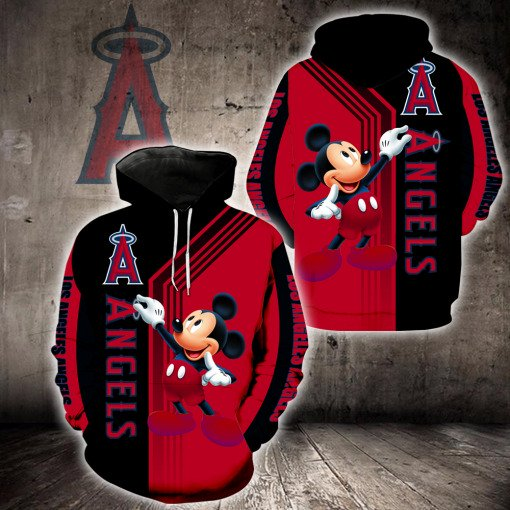 Los angeles angels of anaheim mickey mouse all over printed hoodie