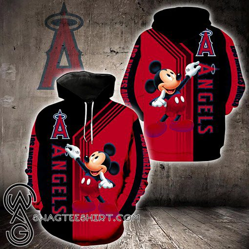 Los angeles angels of anaheim mickey mouse all over printed shirt
