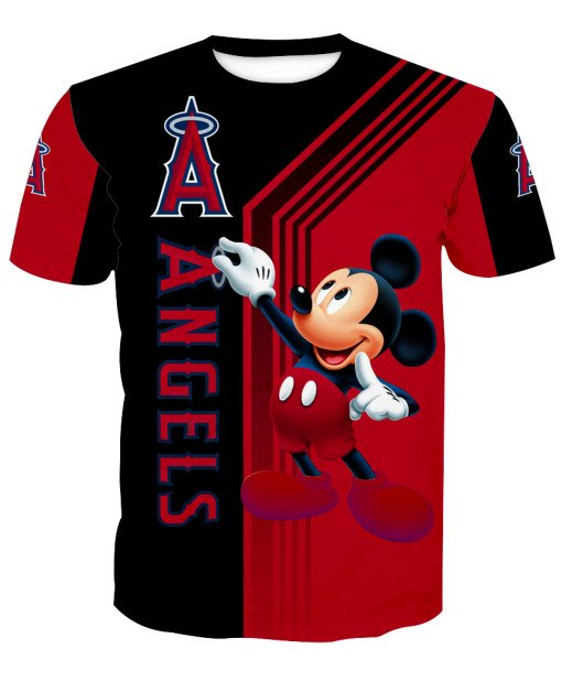 Los angeles angels of anaheim mickey mouse all over printed tshirt