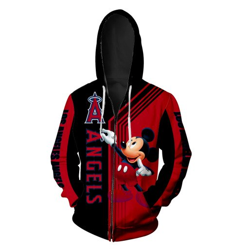 Los angeles angels of anaheim mickey mouse all over printed zip hoodie