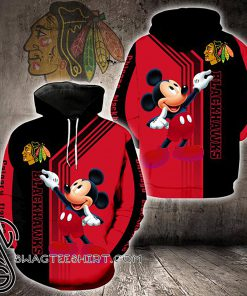 Mickey mouse chicago blackhawks full printing shirt