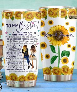 Personalized best friend to my bestie all over printed tumbler
