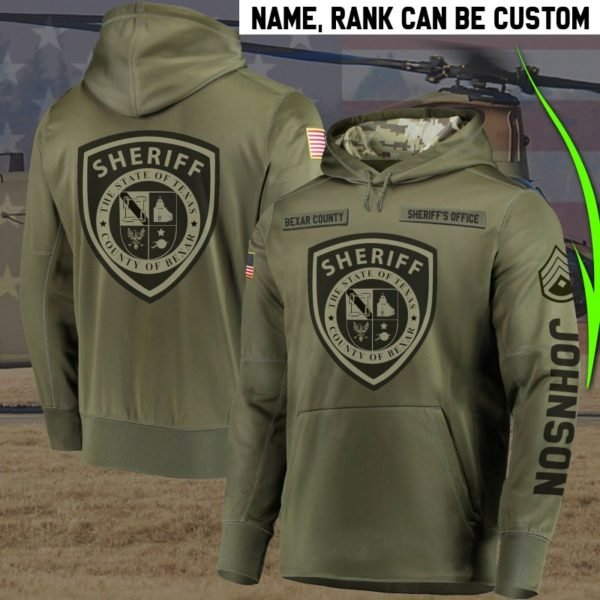 Personalized bexar county sheriff's office all over print hoodie 1