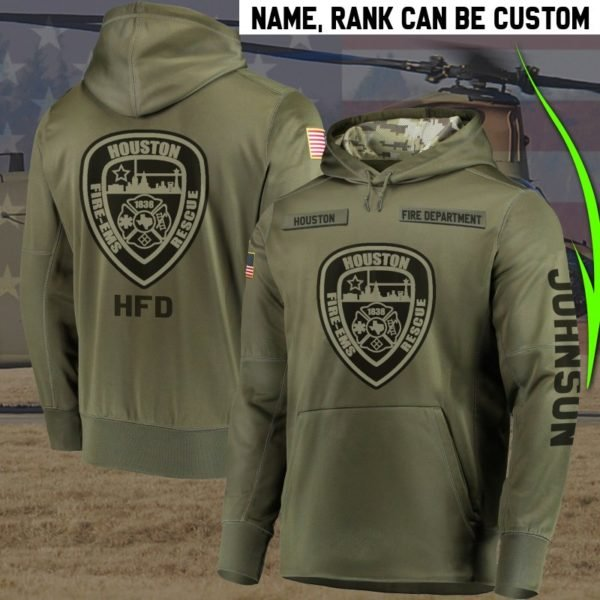 Personalized houston fire department full printing hoodie 2