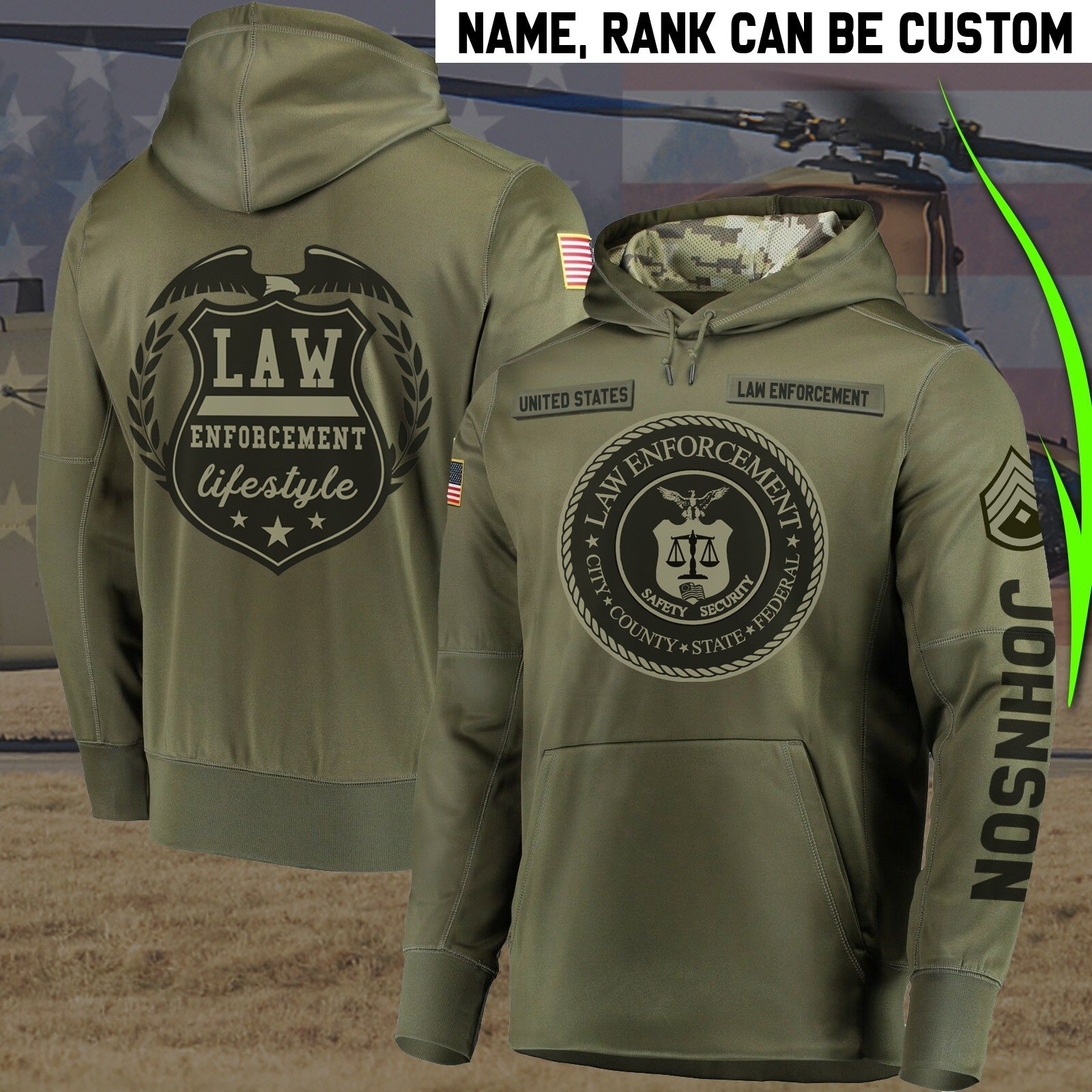 Personalized law enforcement full printing hoodie