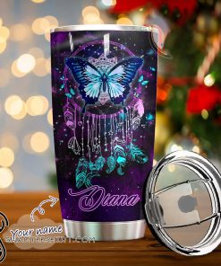 Personalized night butterfly full over print tumbler