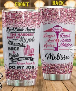 Personalized real estate agent is my job full over print tumbler