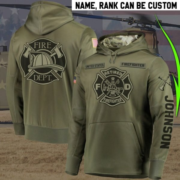 Personalized ritred firefighter full printing hoodie 1