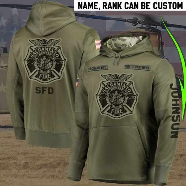 Personalized sacramento fire department full printing hoodie