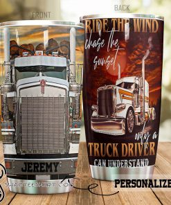 Personalized trucker ride the wind tumbler
