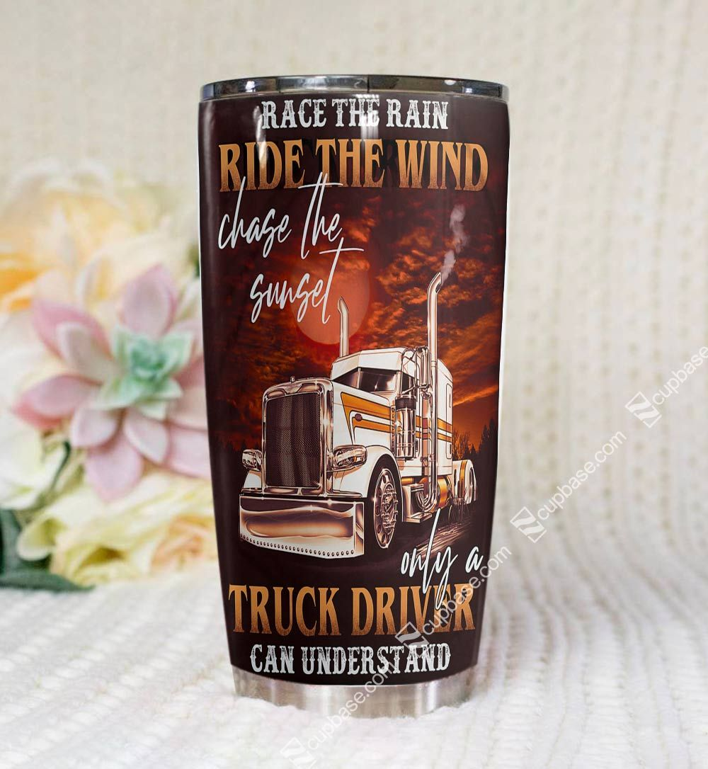 Personalized trucker ride the wind tumbler 3