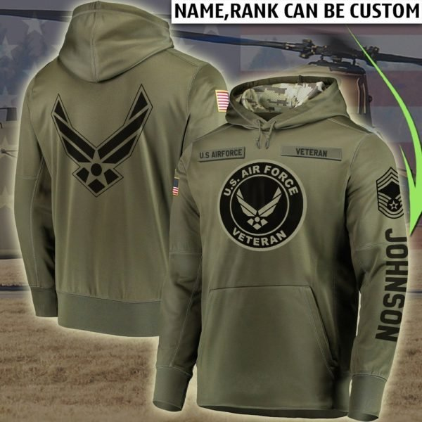 Personalized us air force veteran full printing hoodie