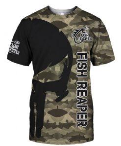 Skull fish reaper camo all over print tshirt