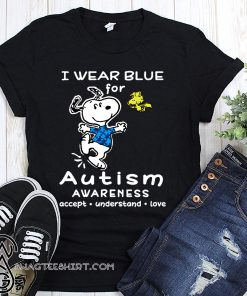 Snoopy i wear blue for autism awareness shirt