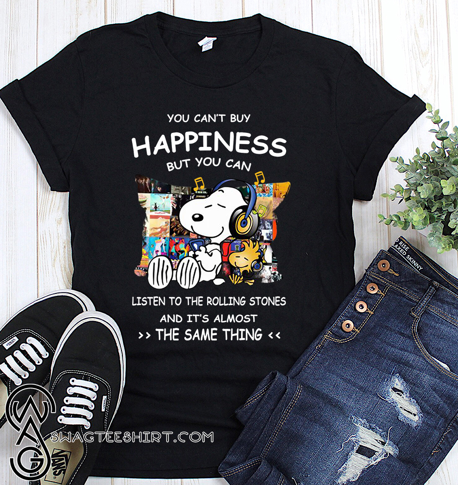 Snoopy you can't buy happiness but you can listen to the rolling stones shirt