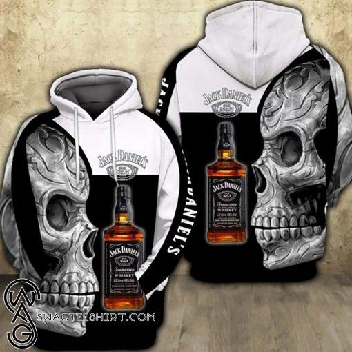 Sugar skull and jack daniel's all over print shirt