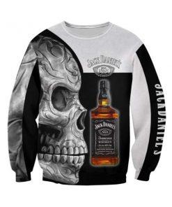 Sugar skull and jack daniel's all over print sweatshirt