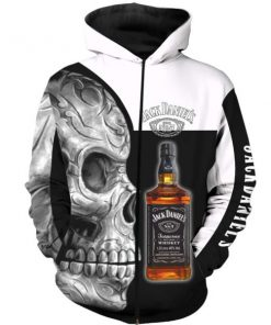 Sugar skull and jack daniel's all over print zip hoodie