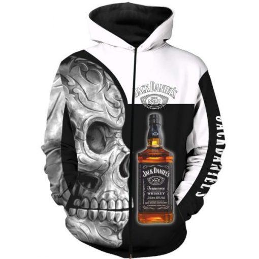 Sugar skull and jack daniel's all over print zip hoodie