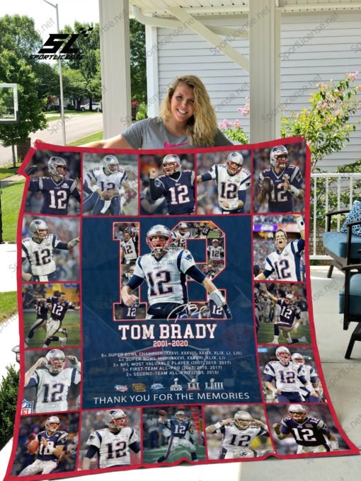 Tom brady 12 thank you for the memories full over print blanket 1