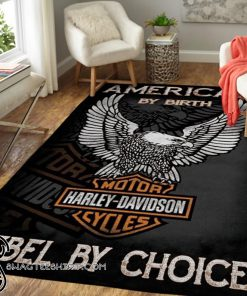 American by birth harley-davidson rebel by choice rug