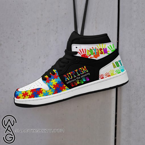 Autism awareness embrace the amazing high top shoes