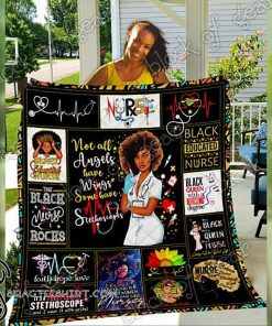 Black nurse not all angels have wings full printing quilt