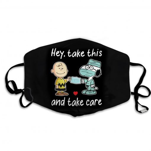 Charlie and snoopy hey take this and take care face mask 2