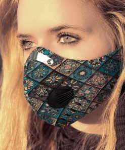 Hippie pattern carbon pm 2,5 face mask 1