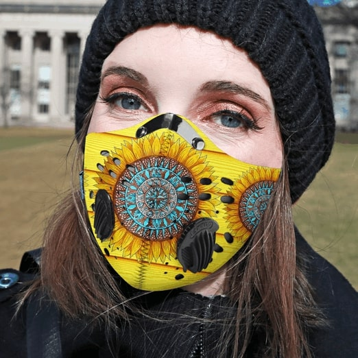Hippie sunflower filter carbon pm 2,5 face mask 1